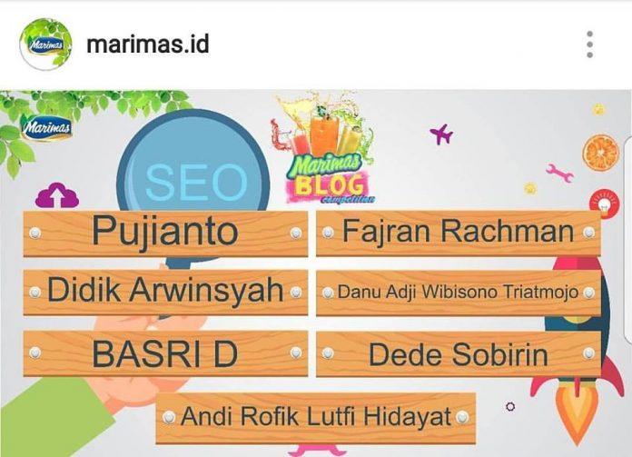 Juara 10 besar kontes blog semi SEO marimas.id