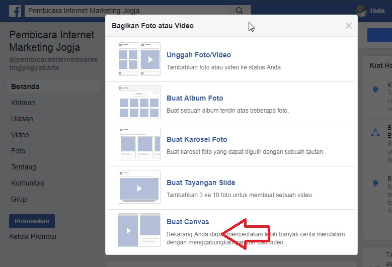 Cara Membuat Facebook Canvas di Fanpage