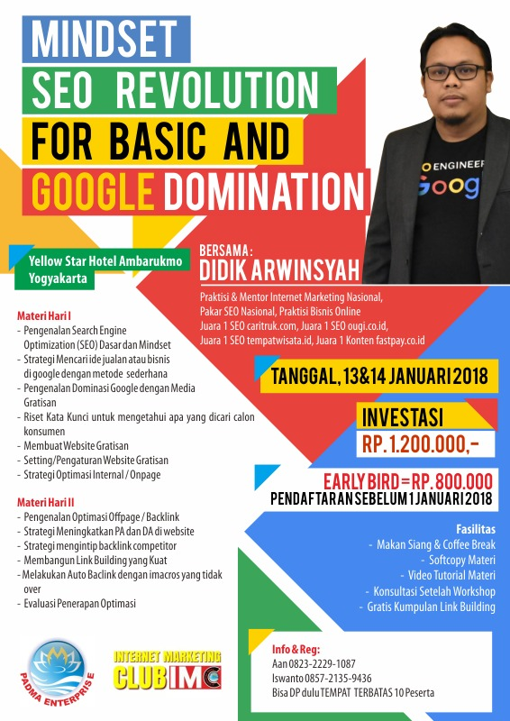 Pelatihan Internet Marketing SEO Basic di Jogja Januari 2018