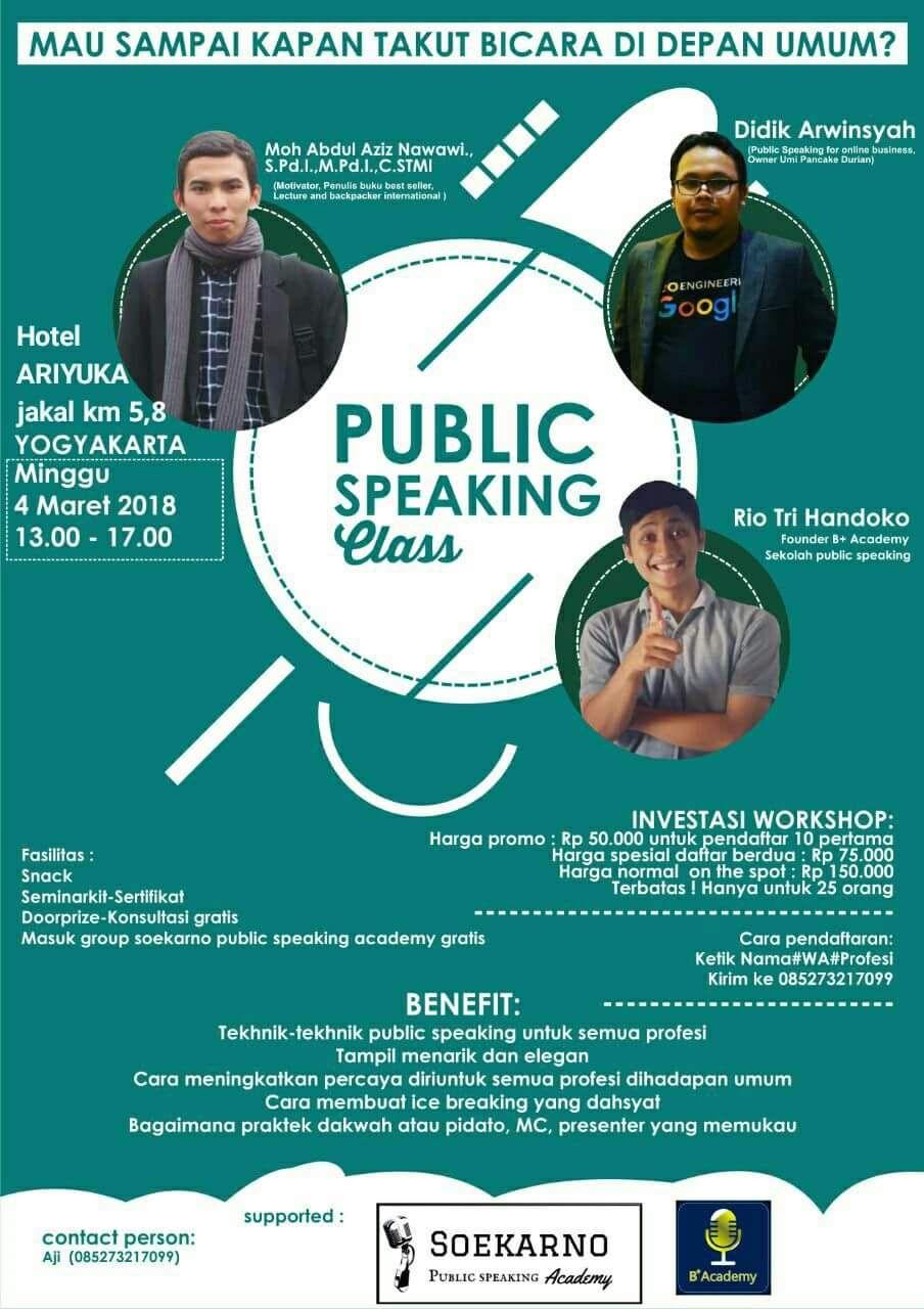 Seminar Public Speaking Class di Hotel Ariyuka Jogja