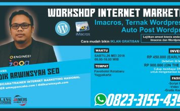 Workshop Internet Marketing Ternak Wordpress di Jogja
