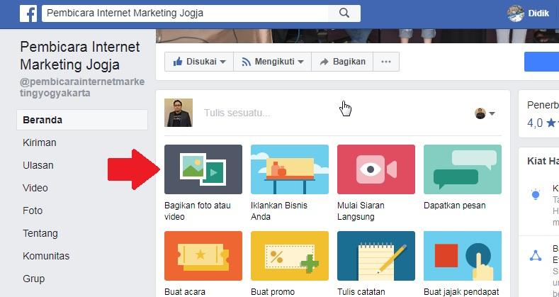 Cara Membuat Facebook Canvas di Fanpage - Didik Arwinsyah SEO