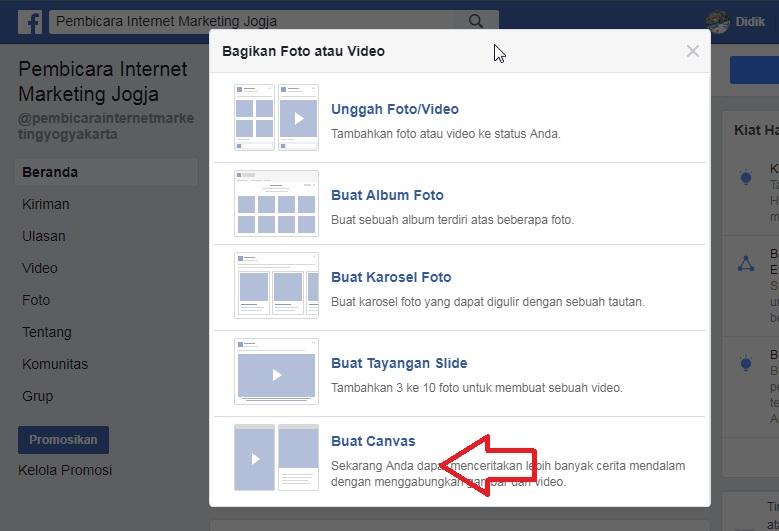Cara Membuat Facebook Canvas di Fanpage
